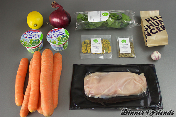 Die Zutaten für die gegrillte Hähnchenbrustfilets kommen gut verpackt und gekühlt an - ein Lob an HelloFresh!