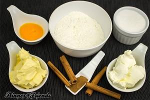 Zimt, Mehl, Backpulver, Ei, Zucker, Margarine, Frischkäse - mehr braucht es nicht für knusprige, leckere Zimtschnecken.